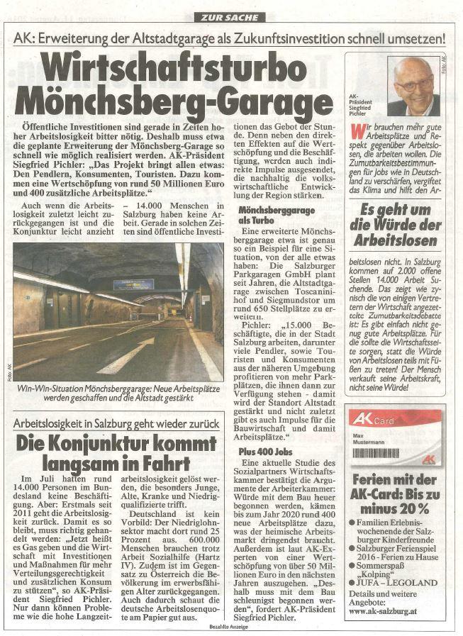 11.08.2016, Krone Mönchsberg-Garage